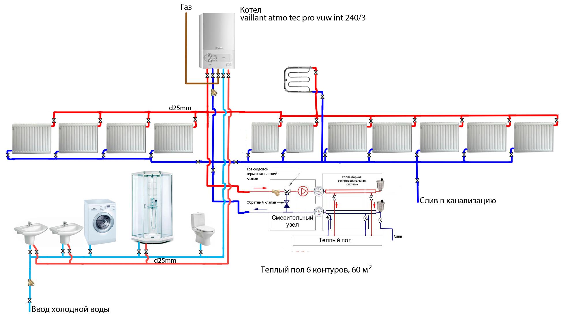 Схема подключения расширительного бака в системе отопления фото 520